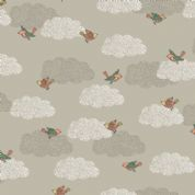 Doodle Days by Makower UK - 5473 - Birds on a Grey Cloudy Background - 1876_S - Cotton Fabric